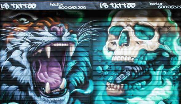 Graffiti mural persiana estudio tatuaje LB